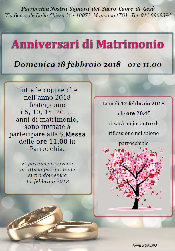Anniversario Di Matrimonio 20.Anniversari Di Matrimonio Parrocchia Nostra Signora Del Sacro